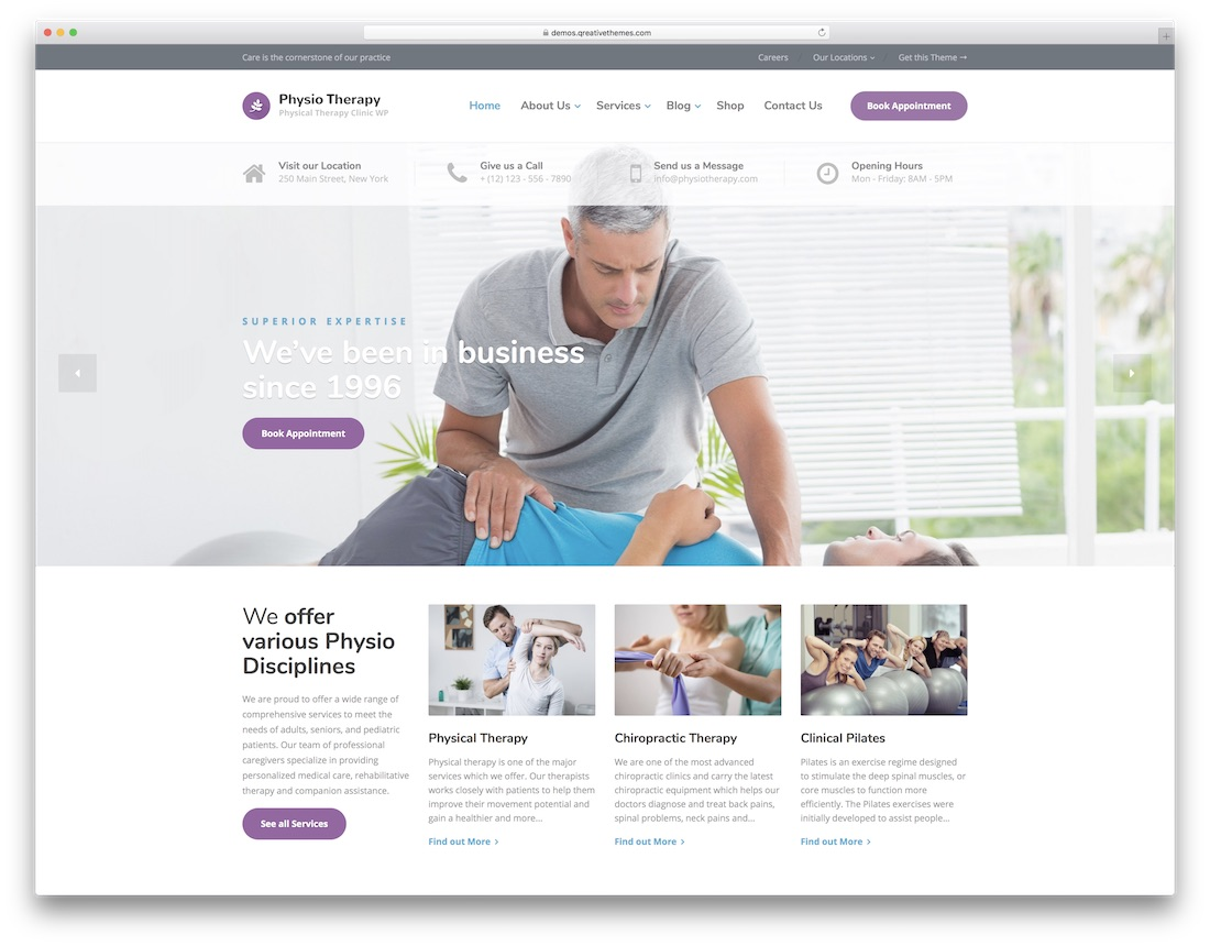 physio physiothérapie chiropraticien wordpress theme