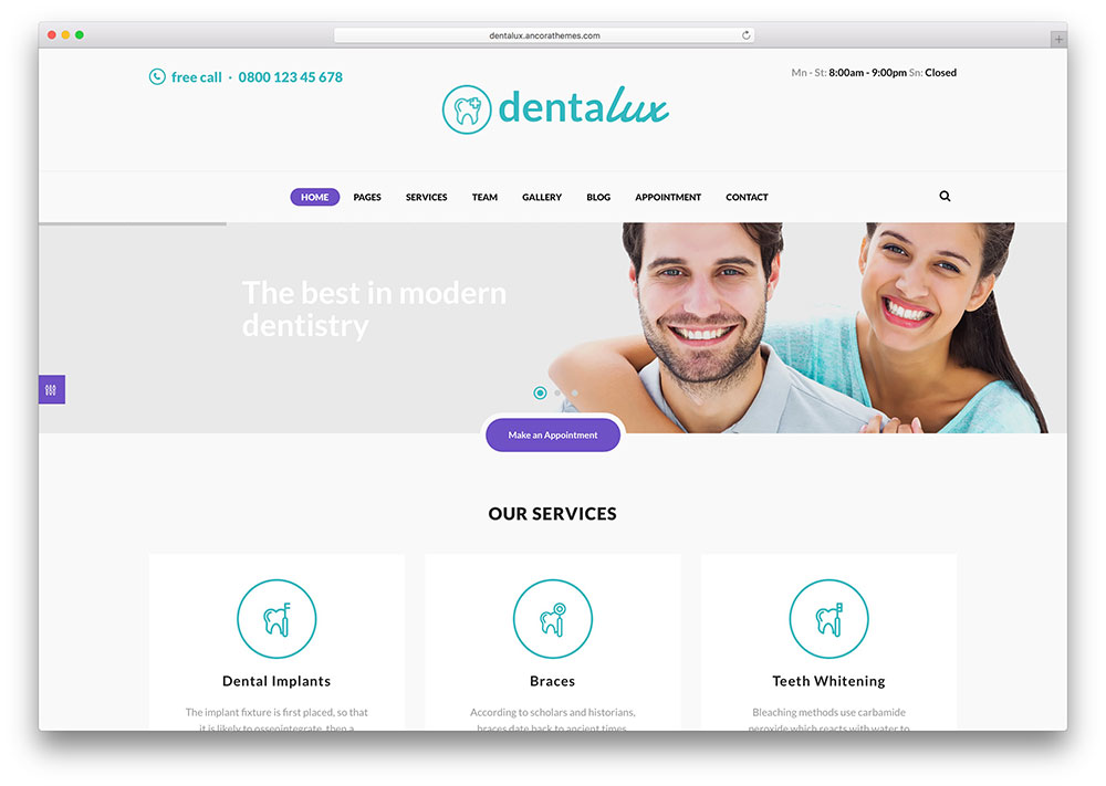"dentalux-simple-dentist-wordpress-theme ""width ="" 1000 ""height ="" 711 ""data-lazy-srcset ="" https://cdn.colorlib.com/wp/wp-content/uploads/sites/2/dentalux -simple-dentist-wordpress-theme.jpg 1000w, https://cdn.colorlib.com/wp/wp-content/uploads/sites/2/dentalux-simple-dentist-wordpress-theme-300x213.jpg 300w """" données -lazy-tailles = ""(largeur maximale: 1000px) 100vw, 1000px"" data-lazy-src = ""https://cdn.colorlib.com/wp/wp-content/uploads/sites/2/dentalux-simple- dentist-wordpress-theme.jpg? is-waiting-load = 1 ""srcset ="" données: image / gif; base64, R0lGODlhAQABAAAAAAAAAP /// yH5BAEAAAAAAAAABAAAAAAIBRAA7 ""/></p> <p><noscript><img class="