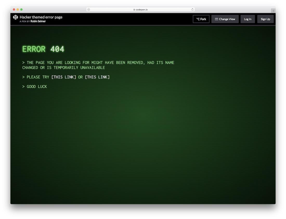 modèle de page d'erreur gratuit sur le thème des hacker