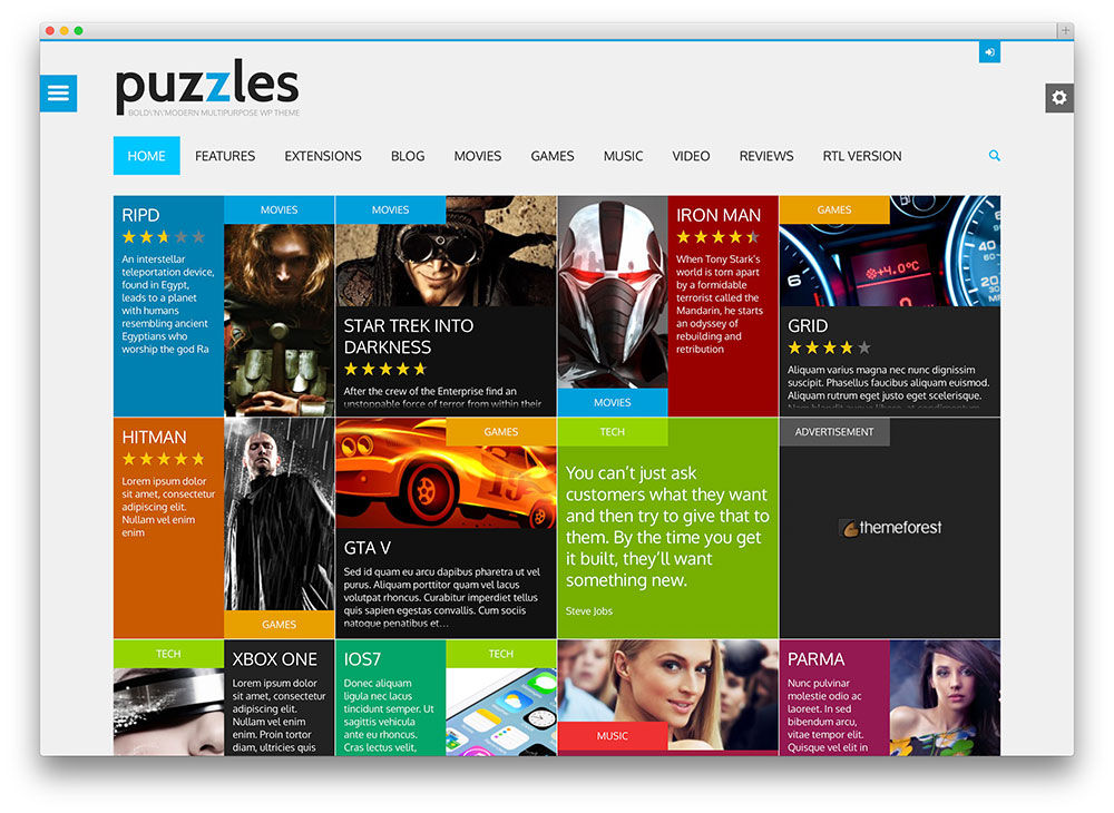 puzzles - thème WordPress design plat