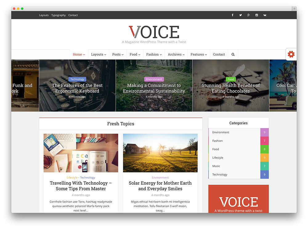 voice - flat design wordpress theme