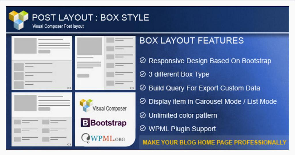 Publier un style de boîte pour WPBakery Page Builder WordPress