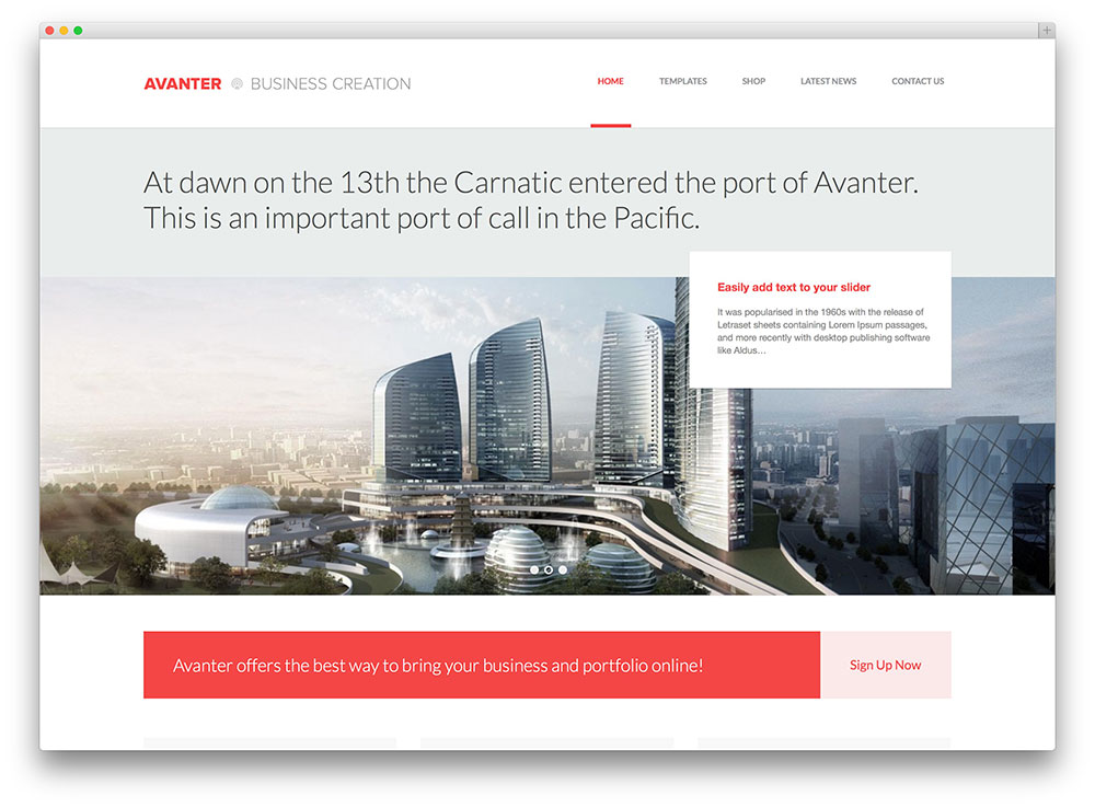 avanter skyview construction business theme