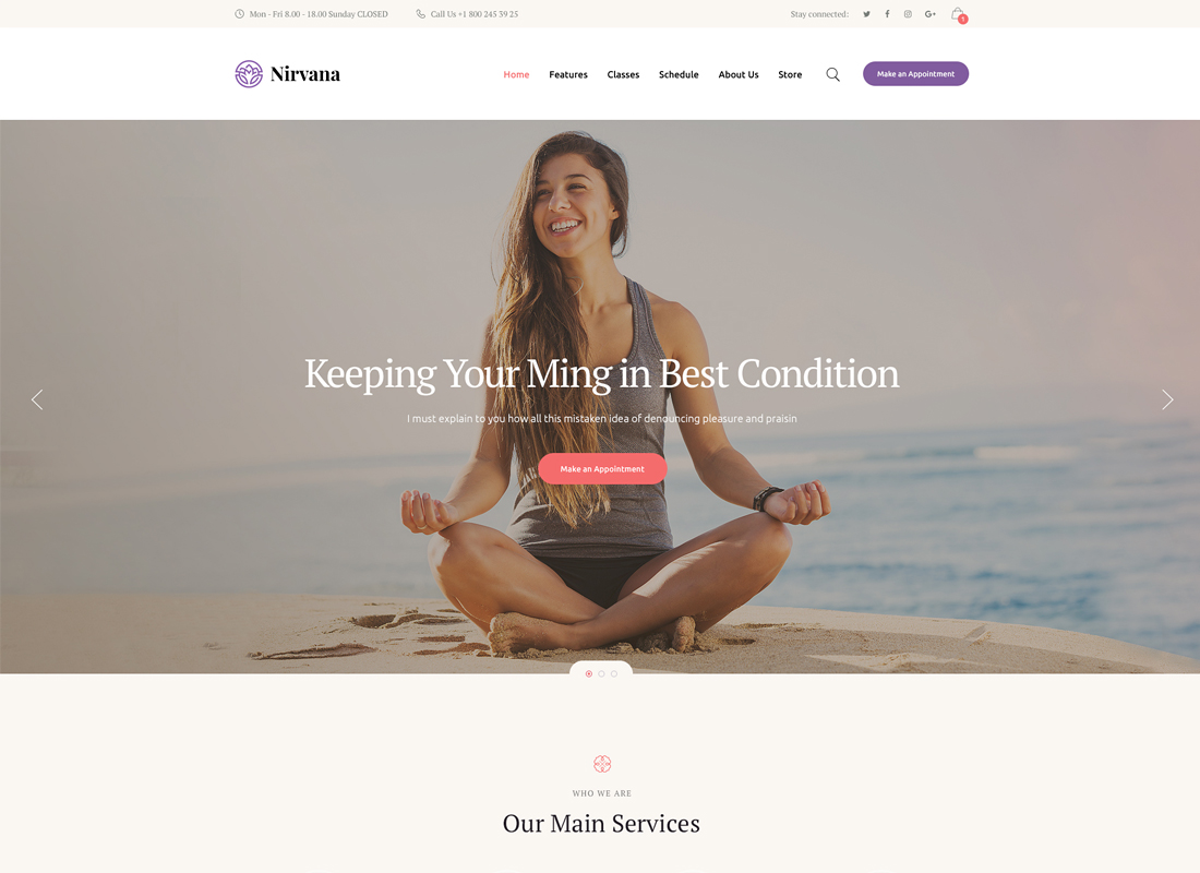 Nirvana | Yoga Studio and Fitness Club Thème WordPress
