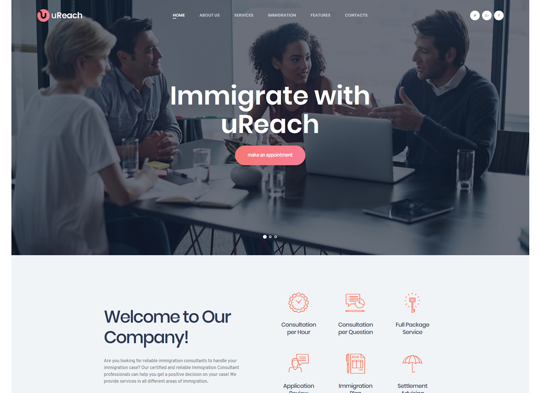 uReach | Thème WordPress pour consultants en immigration