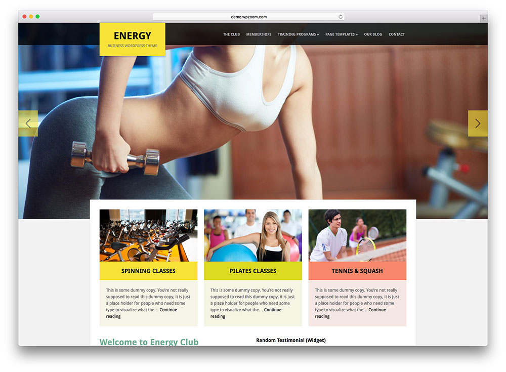 energy - fitness and yoga wordpress theme