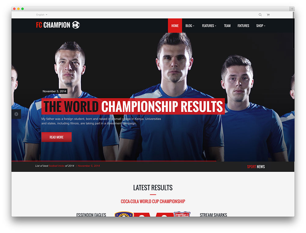 champion - sports team WordPress theme