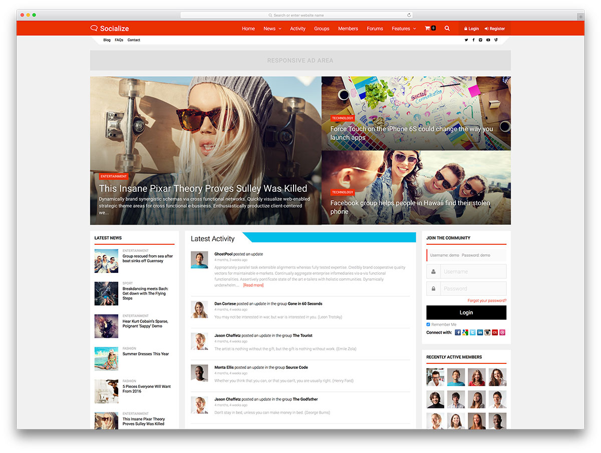 socialize-buddypress-powered-community-theme &quot;width =&quot; 1200 &quot;height =&quot; 905 &quot;data-lazy-srcset =&quot; https://cdn.colorlib.com/wp/wp-content/uploads/sites/2/socialize -buddypress-powered-community-theme.jpg 1200w, https://cdn.colorlib.com/wp/wp-content/uploads/sites/2/socialize-buddypress-powered-community-theme-300x226.jpg 300w, https : //cdn.colorlib.com/wp/wp-content/uploads/sites/2/socialize-buddypress-powered-community-theme-768x579.jpg 768w, https://cdn.colorlib.com/wp/wp- content / uploads / sites / 2 / socialize-buddypress-powered-community-theme-1024x772.jpg 1024w &quot;data-lazy-tailles =&quot; (largeur maximale: 1200px) 100vw, 1200px &quot;data-lazy-src =&quot; https: //cdn.colorlib.com/wp/wp-content/uploads/sites/2/socialize-buddypress-powered-community-theme.jpg?is-pending-load=1 &quot;srcset =&quot; data: image / gif; base64 , R0lGODlhAQABAIAAAAAAAAP /// yH5BAEAAAAALAAAAAABAAEAAAIBRAA7 &quot;/&gt;</p> <p><noscript><img class=