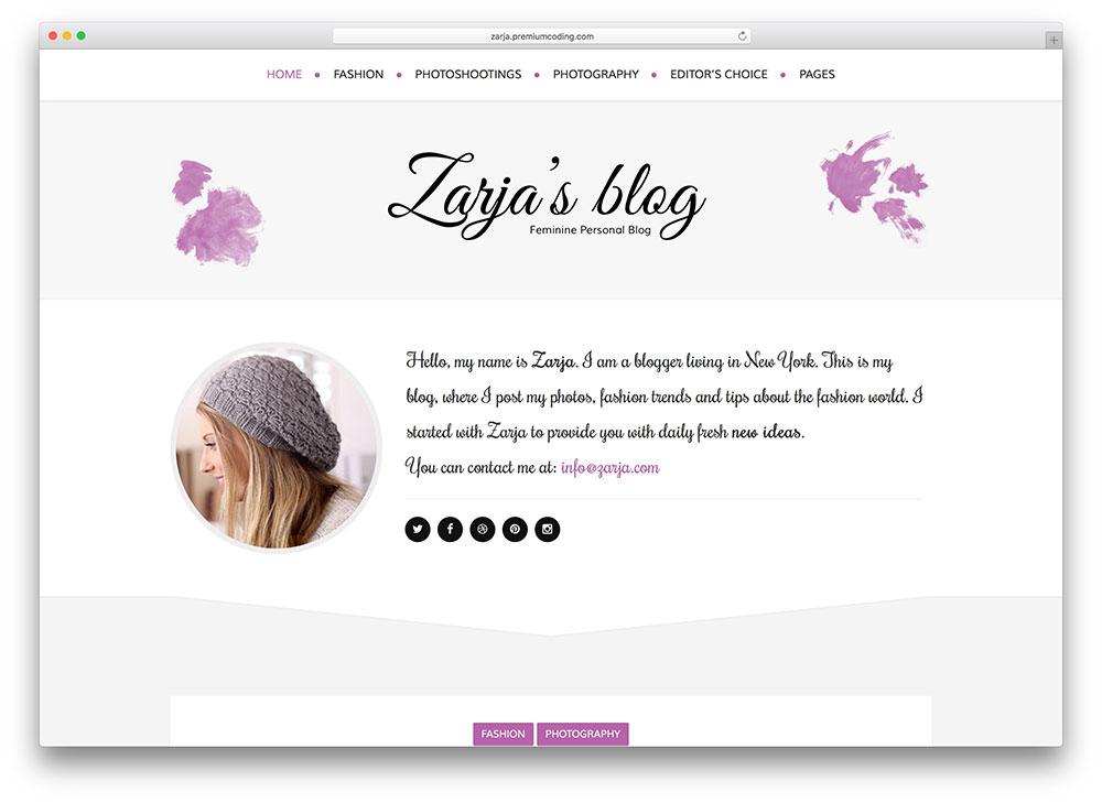 zarja colorful feminine blog theme