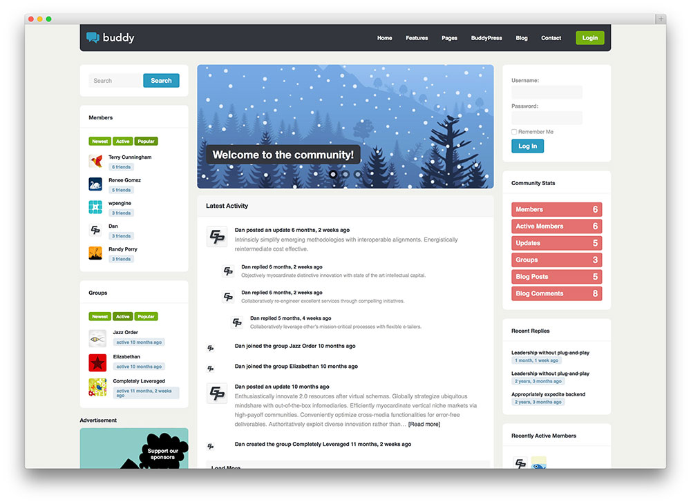 buddy - buddypress community theme