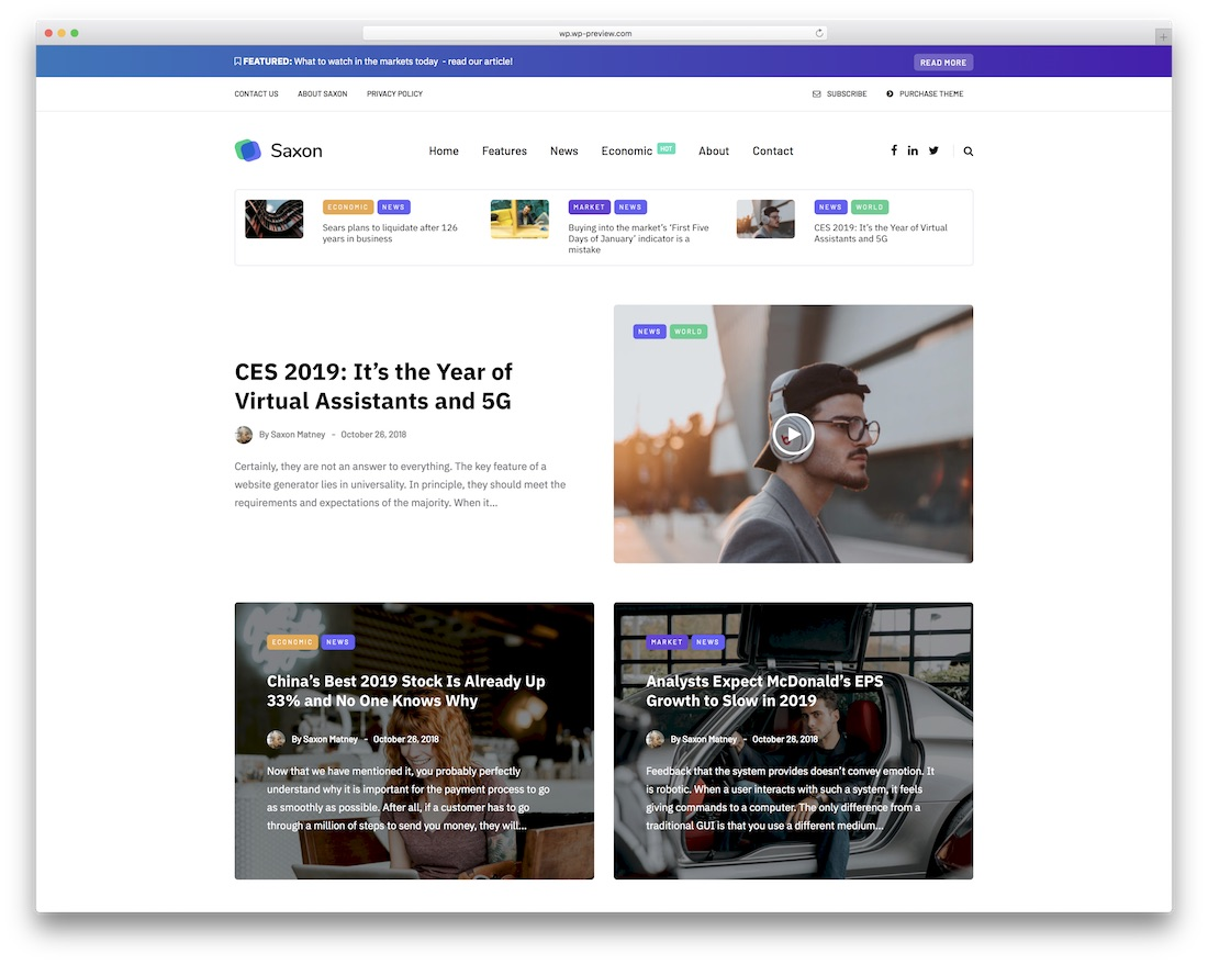 saxon news wordpress theme