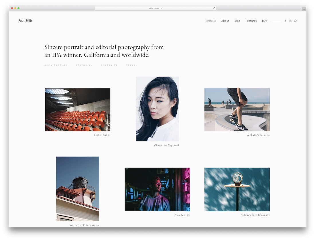 stills wordpress photography theme