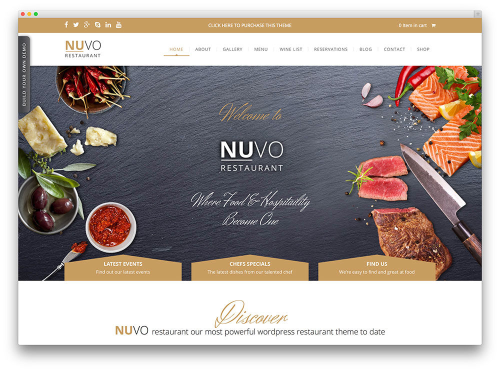 nuvo - organic food restaurant theme