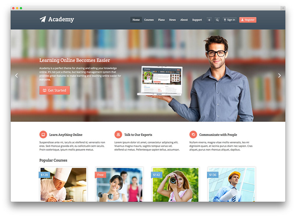 academy online course theme