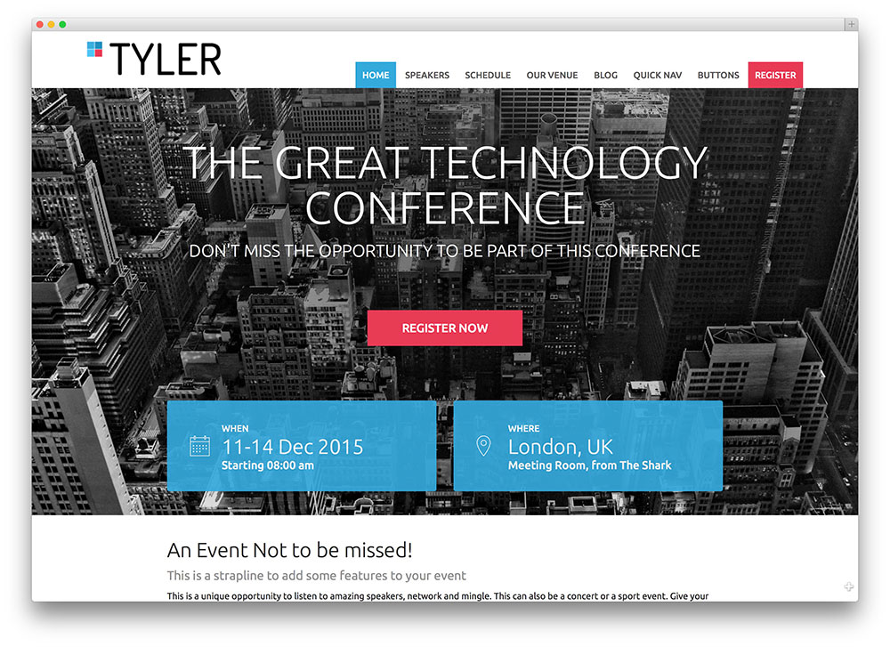 tyler - event management theme