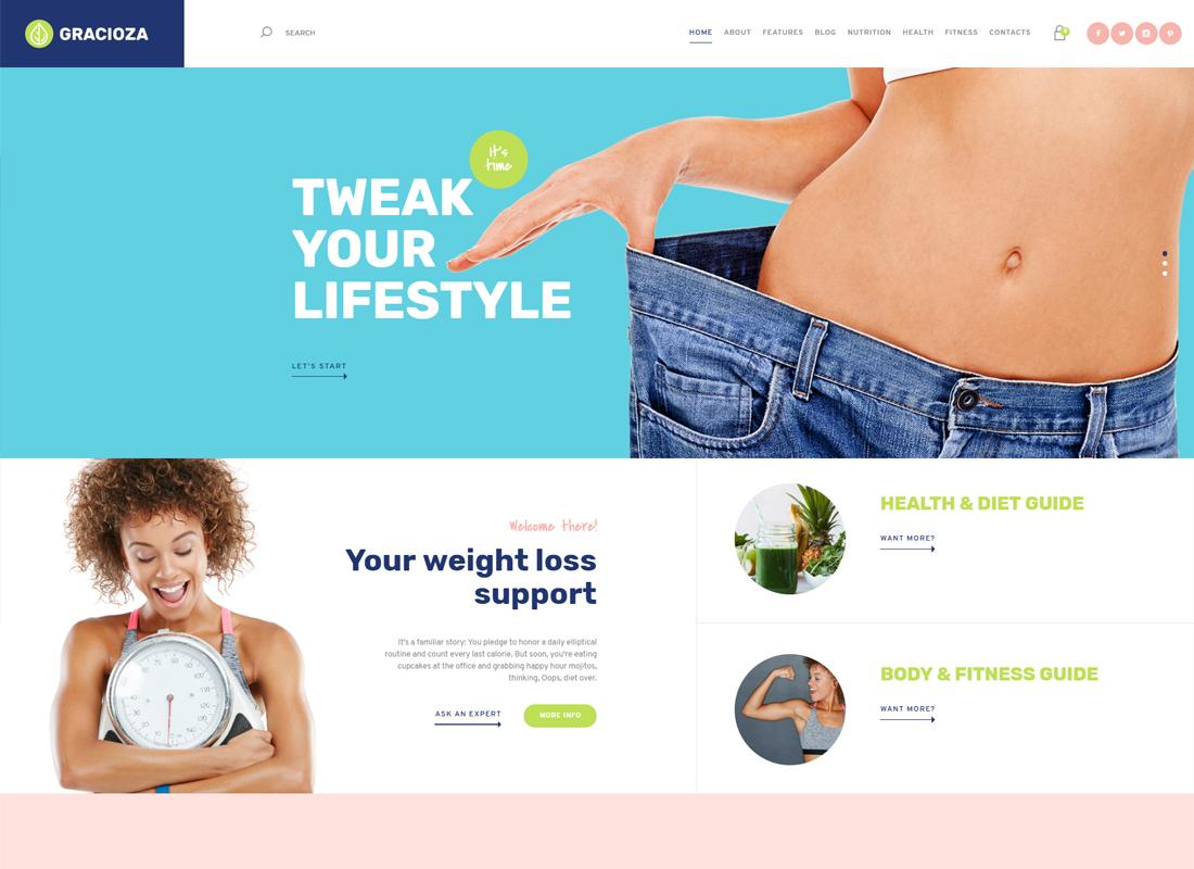 Gracioza - Société pour la perte de poids & Thème WordPress pour un blog santé