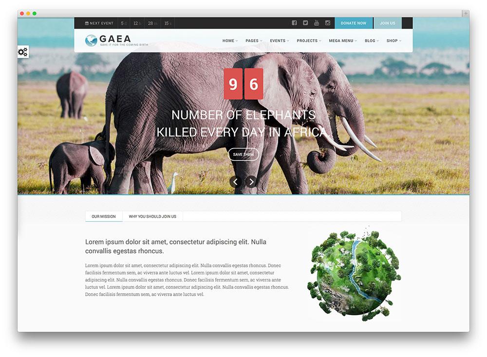 Gaea - Thème WordPress pour l'environnement