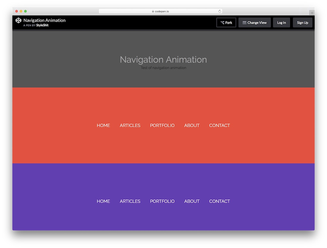 menu d'animation de navigation