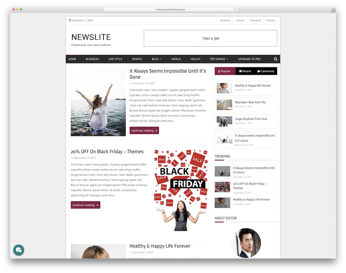 newslite free news site template