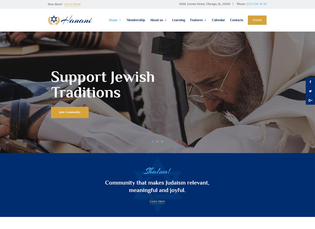 Hanani - Thème WordPress pour communauté et synagogue juive