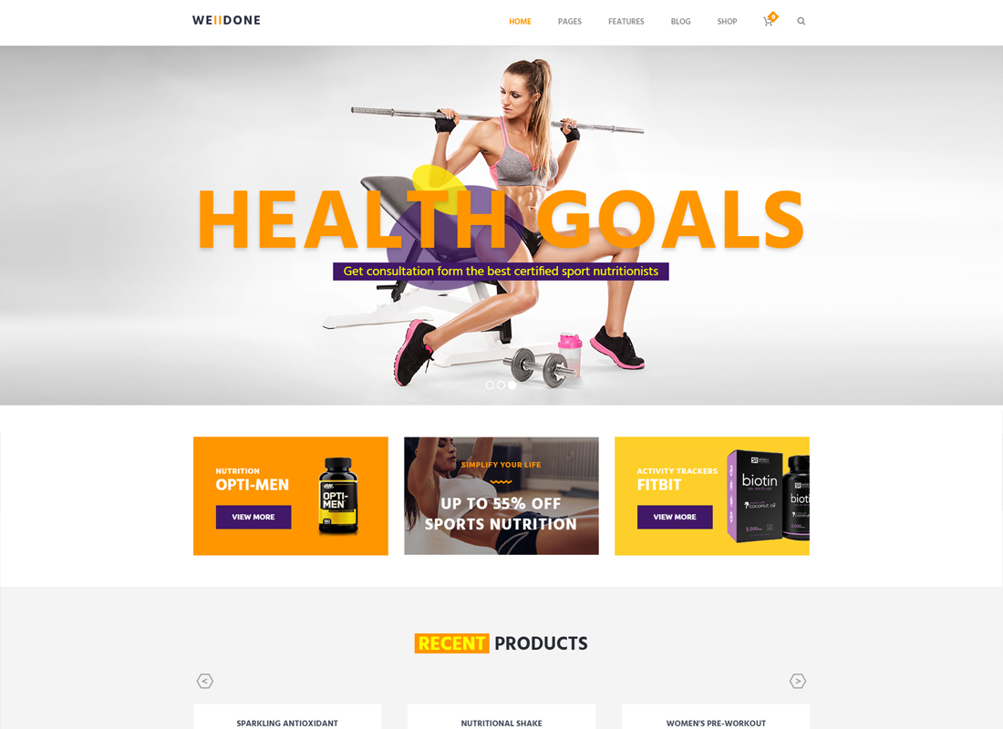 Welldone | Sports & Fitness Nutrition and Supplements Store Thème WordPress