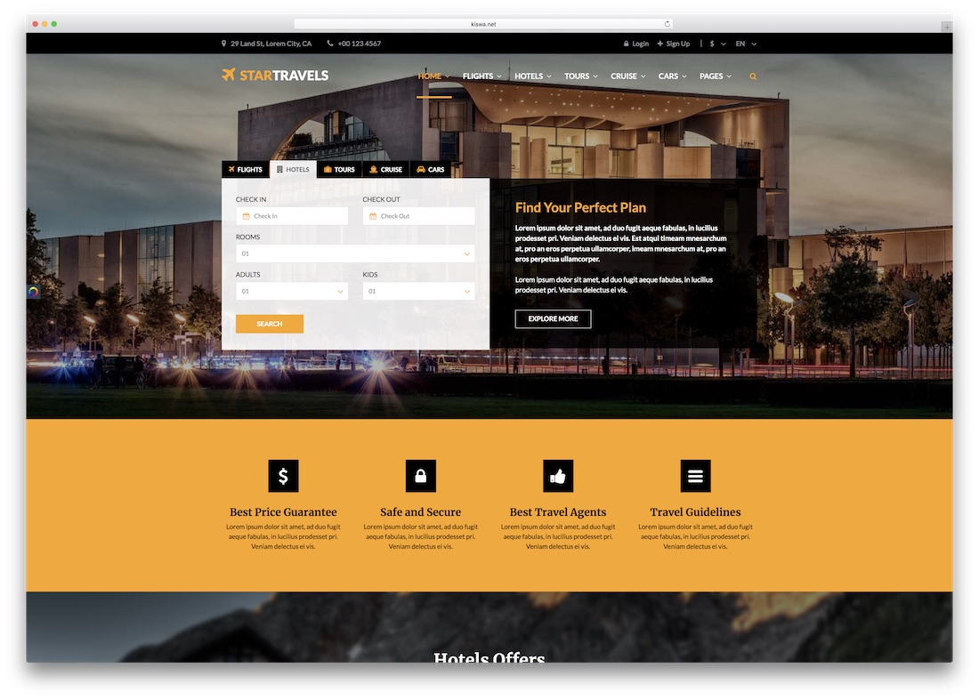 star website html5 hotel website template