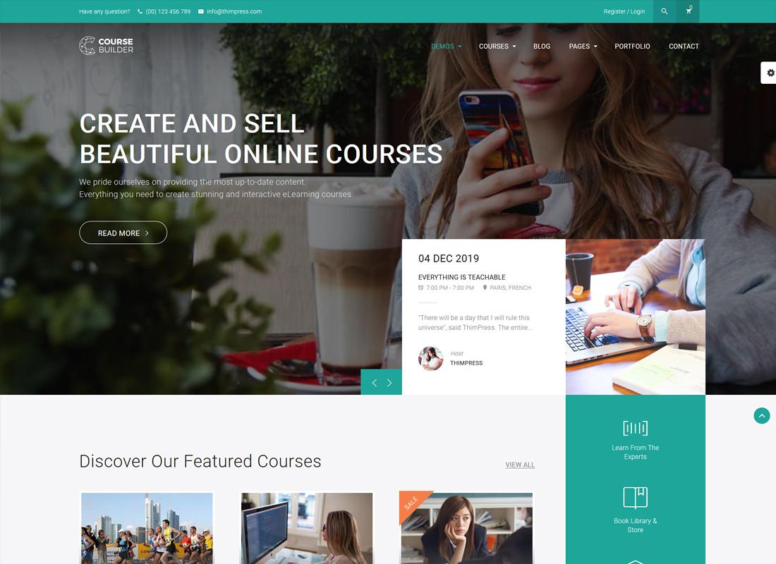 Course Builder LMS   Cours en ligne, écoles et éducation Thème WordPress LMS