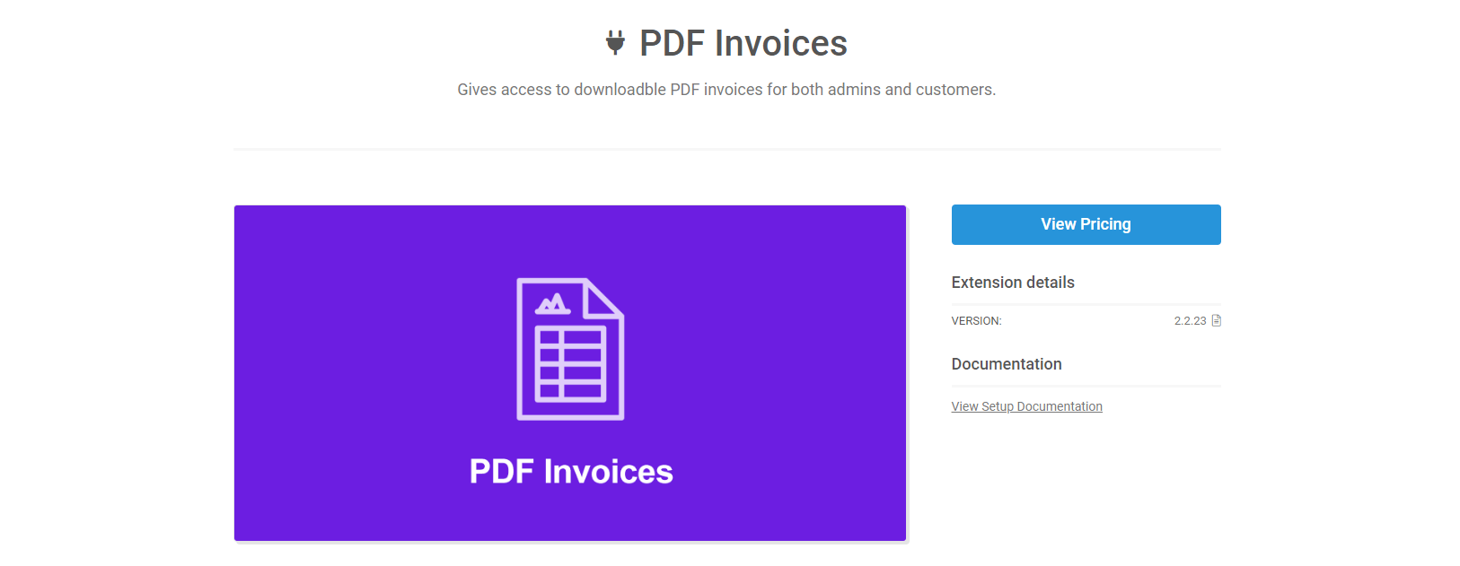 L'extension PDF Invoices pour EDD.
