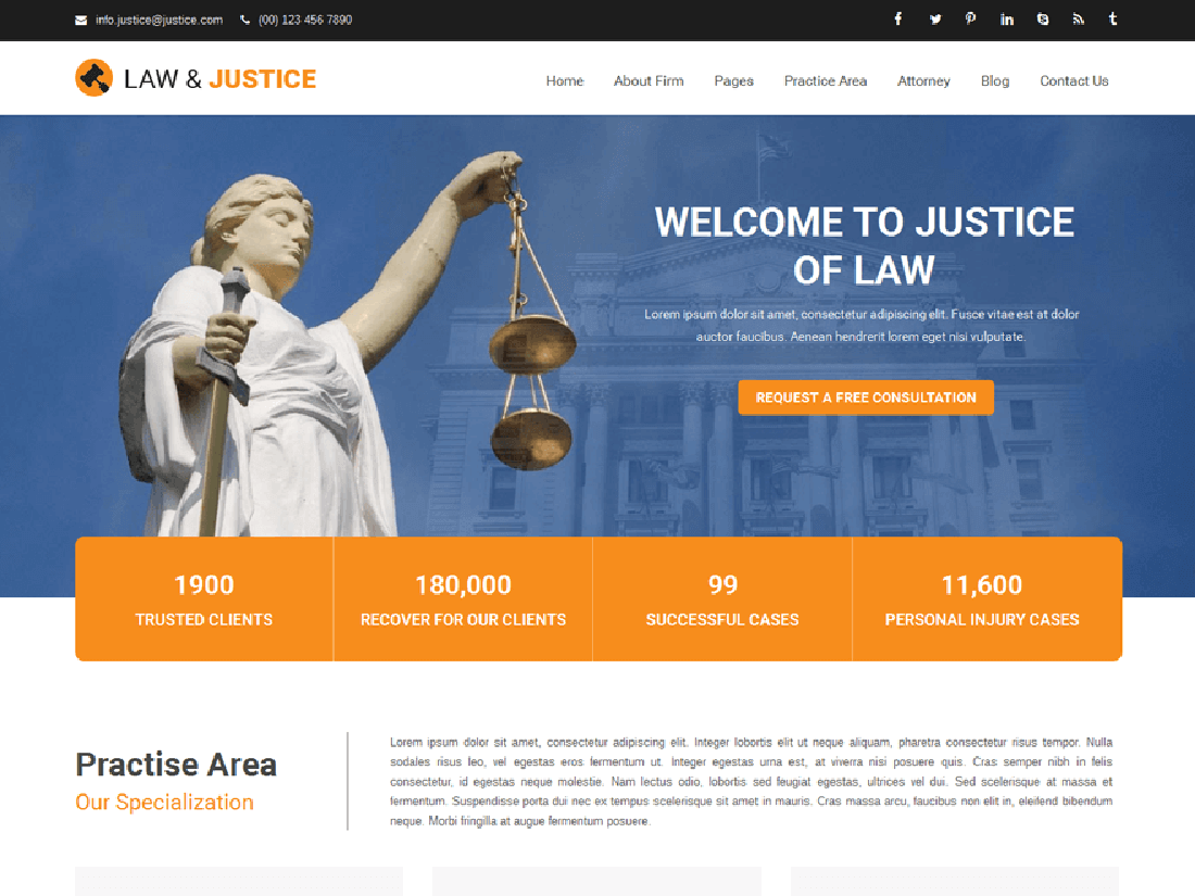 Justice WordPress Theme for Law Sites Web
