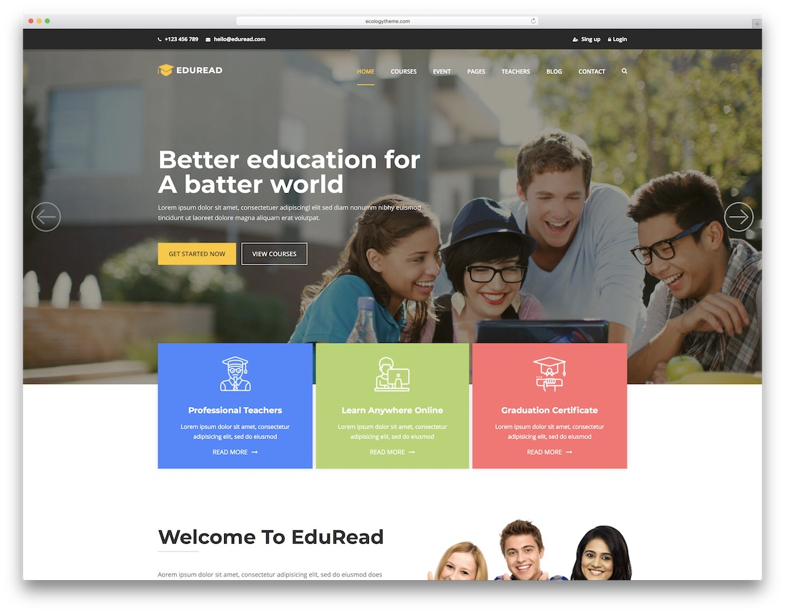 eduread seo friendly site web template