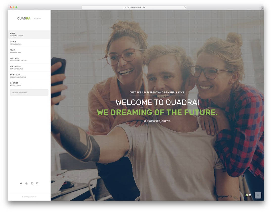 modèle de site web marketing quadra