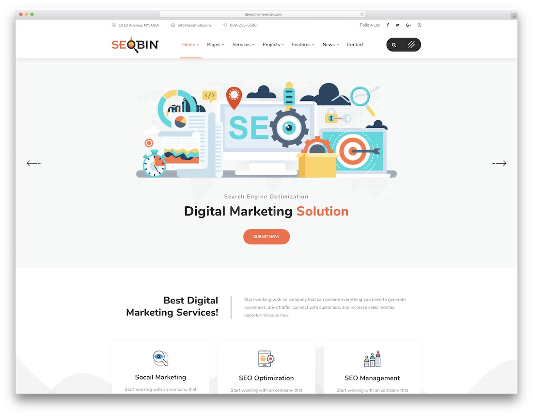 modèle de site web marketing seobin