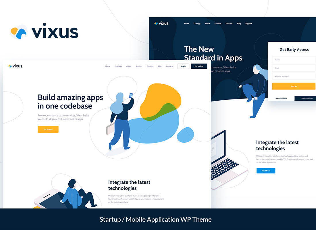 Vixus | Démarrage et application mobile WordPress Landing Page Theme