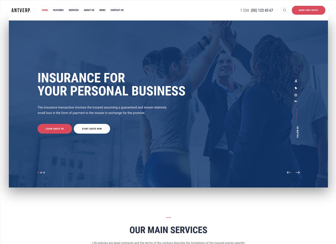 Antverp | Un thème WordPress sur les assurances et les conseils financiers