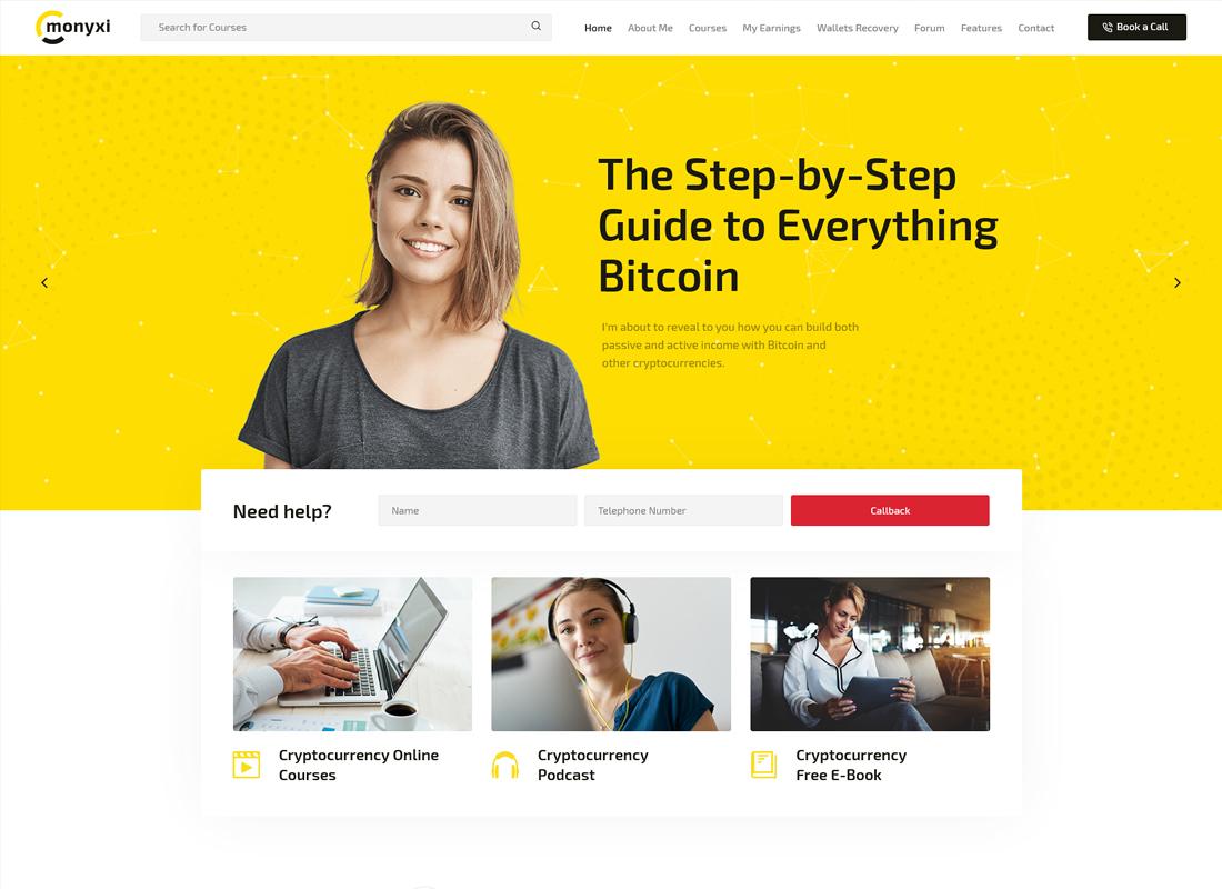 Monyxi | Thème WordPress du coach d'affaires en matière de cryptomonnaie