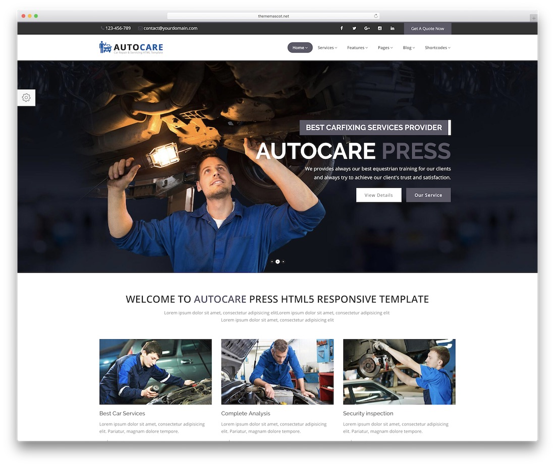 modèle de site automobile autocarepress