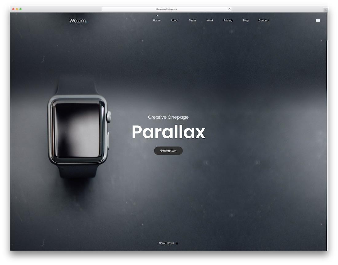 modèle de site Web wexim parallaxe