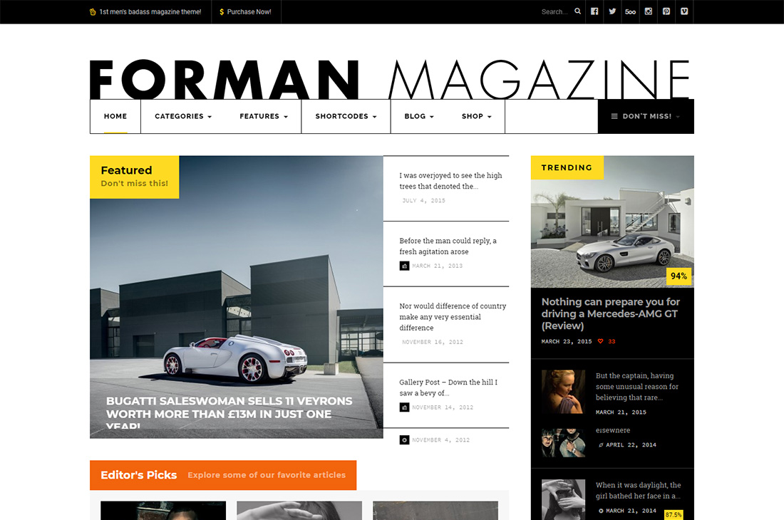 forman cars magazine thèmes wordpress