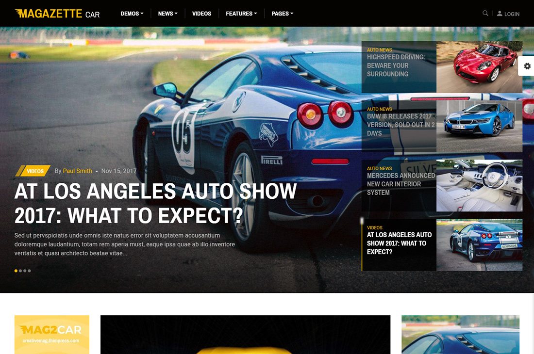 magazette cars magazine thèmes wordpress