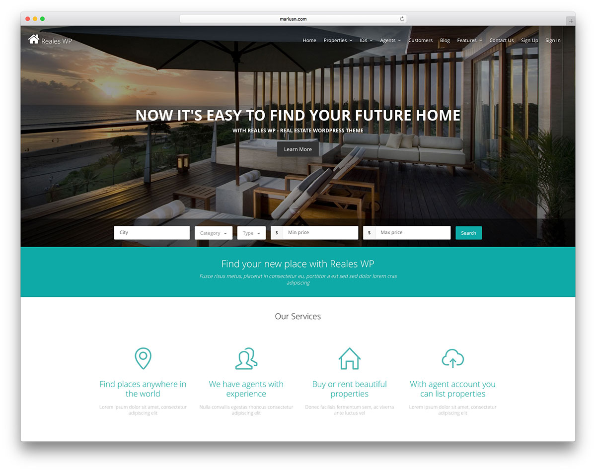 reales-wp-real-estate-wordpress-website-template &quot;width =&quot; 1200 &quot;height =&quot; 949 &quot;srcset =&quot; https://colorlib.com/wp/wp-content/uploads/sites/2/reales-wp -real-estate-wordpress-website-template.jpg 1200w, https://colorlib.com/wp/wp-content/uploads/sites/2/reales-wp-real-estate-wordpress-website-template-300x237. jpg 300w, https://colorlib.com/wp/wp-content/uploads/sites/2/reales-wp-real-estate-wordpress-website-template-768x607.jpg 768w, https://colorlib.com/ wp / wp-content / uploads / sites / 2 / reales-wp-immobilier-wordpress-website-template-1024x810.jpg 1024w &quot;données-lazy-tailles =&quot; (largeur maximale: 1200px) 100vw, 1200px &quot;/ &gt;</p> <p><noscript><img class=