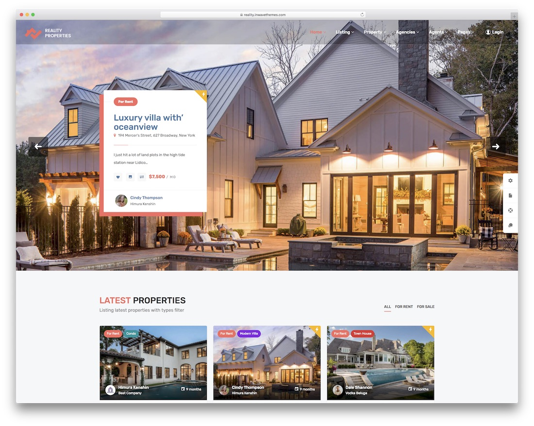 reality real estate wordpress theme