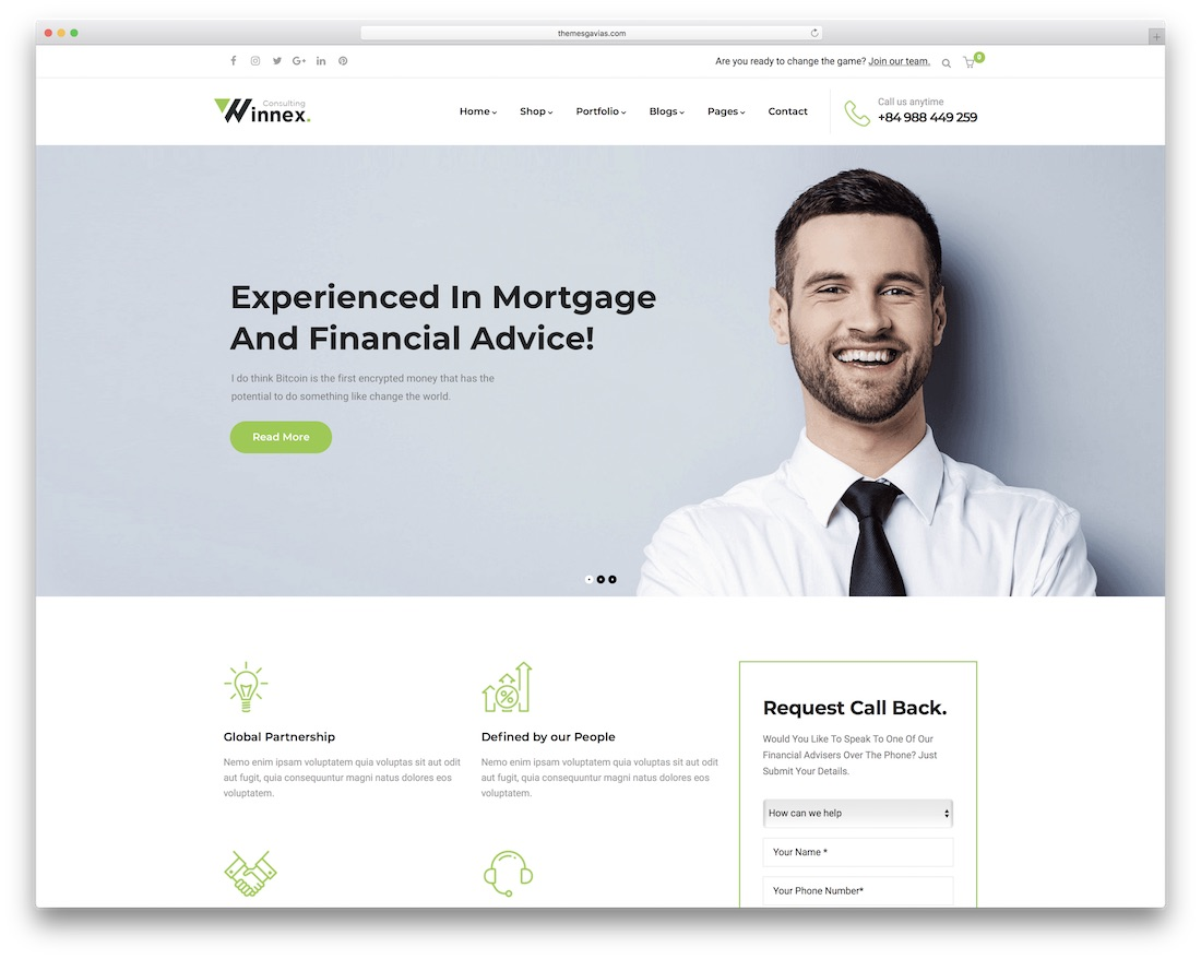 winnex consulting wordpress theme