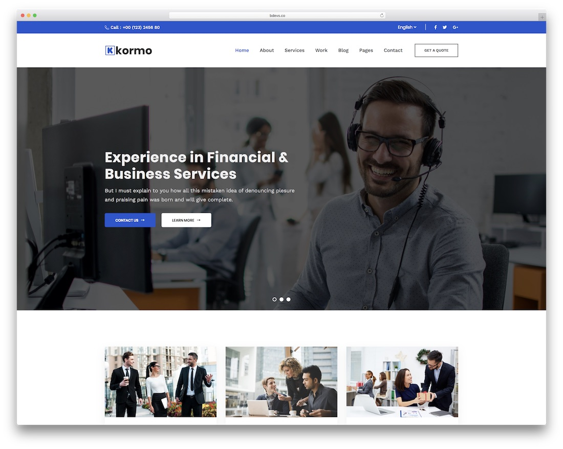 kormo consulting wordpress theme