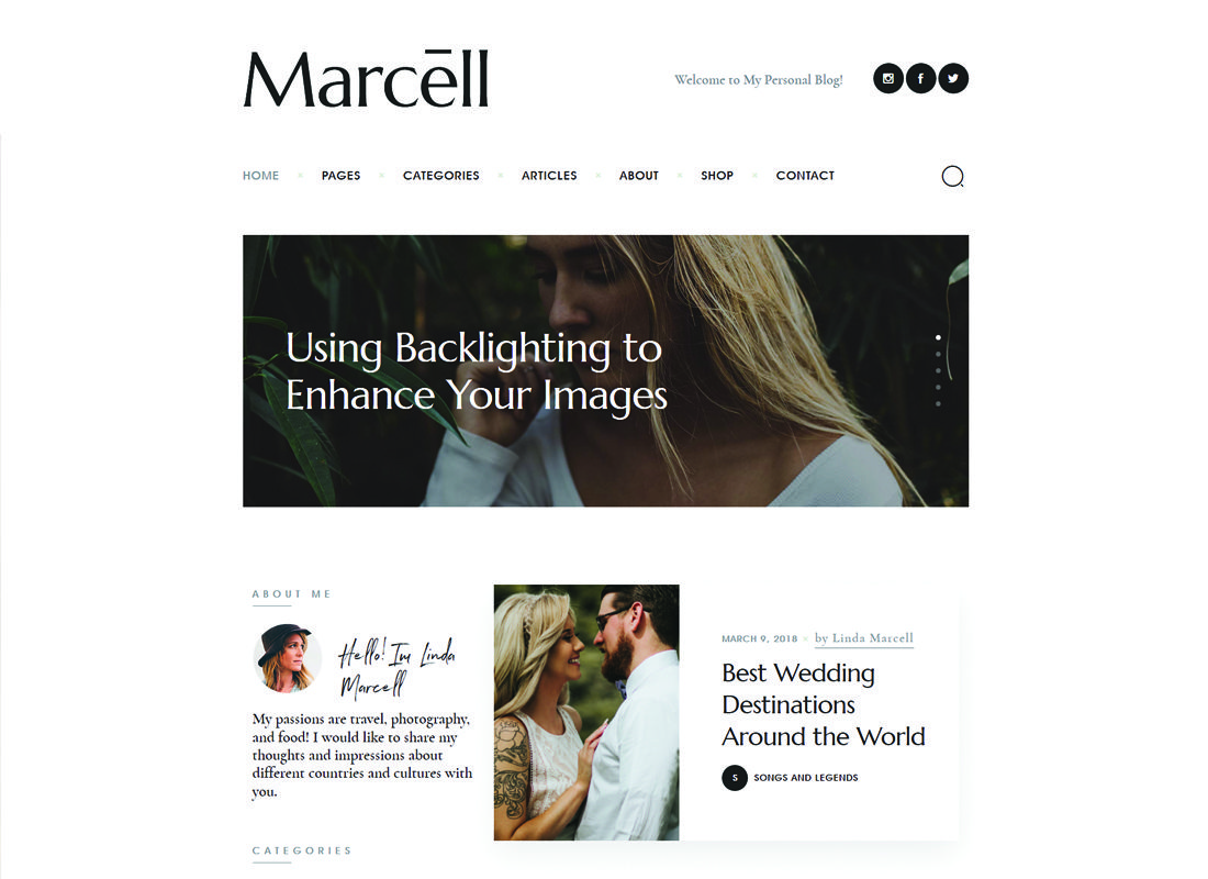 Marcell | 20+ layouts Multi-Concept Blog personnel et thème de WordPress pour magazines