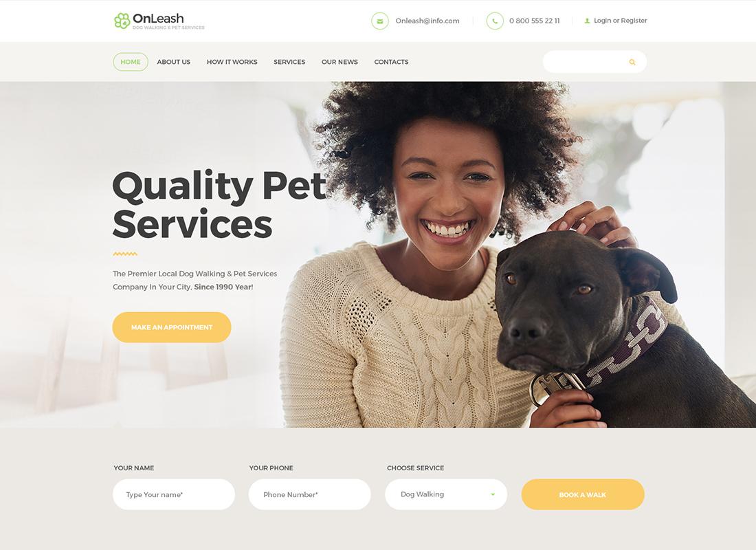 OnLeash - Thème WordPress pour chiens et chiens