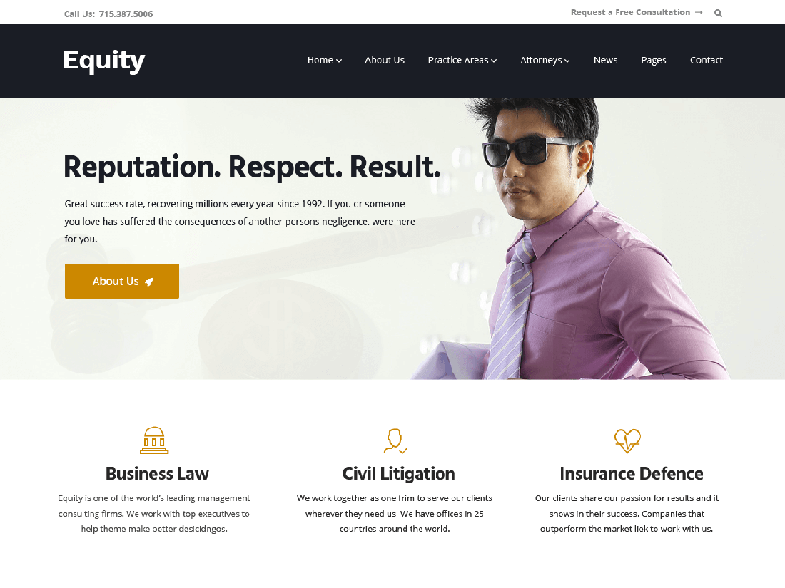 Equity WordPress Theme for Law Sites Web
