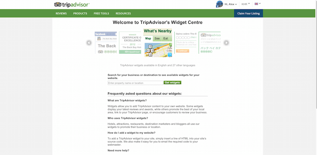 Widget Center TripAdvisor pour les affaires