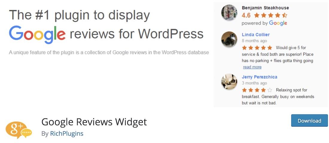 widget google critiques plugin wordpress