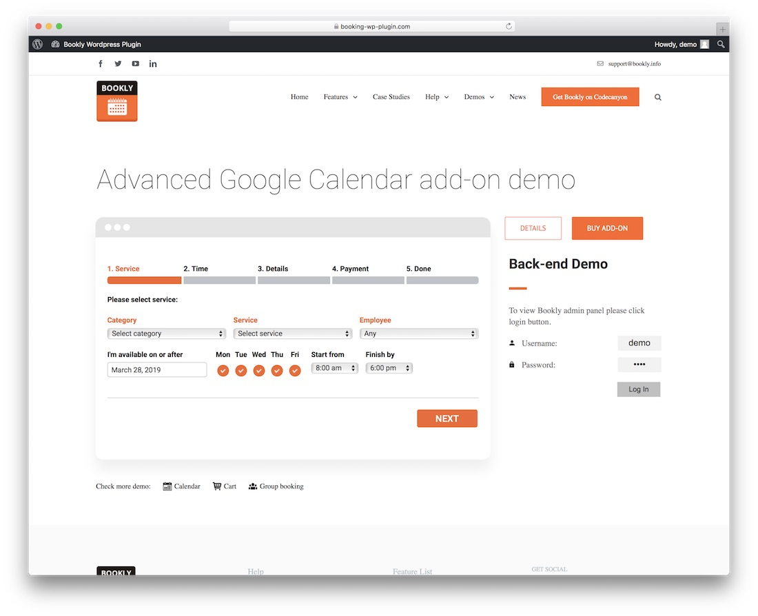 bookly advanced plugin addictif de calendrier de Google