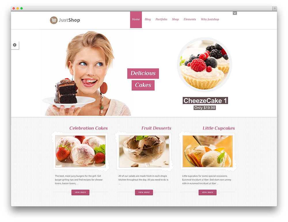 modèle WordPress justshop boulangerie